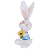 Carved Bunny With Fabric Ears Holding Flower