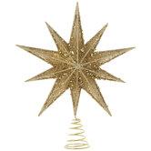Gold Glitter & Sequins Star Tree Topper