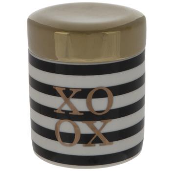 XOXO Striped Round Jewelry Holder
