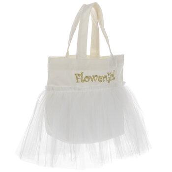 White Flower Girl Tutu Tote Bag