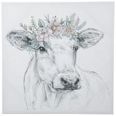 Floral Cow Sketch Canvas Wall Decor