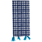 Blue & White Gingham Kitchen Towel With Tassels