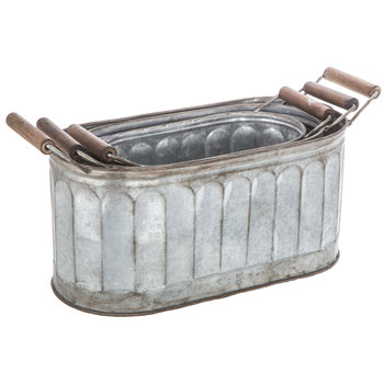 Galvanized Oval Metal Container Set