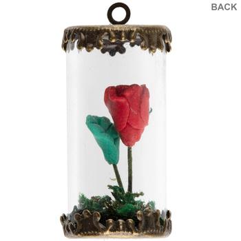 Rose In Glass Jar Pendant