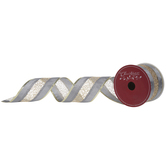 Gray & Gold Mesh Wired Edge Ribbon - 2 1/2""