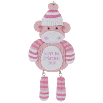Pink Baby's First Christmas Sock Monkey Ornament