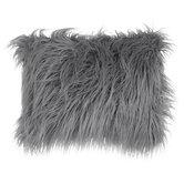 Gray Faux Fur Pillow