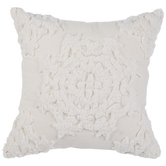 White Tufted Medallion Pillow Cover