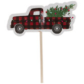 Red Buffalo Check Truck Cake Toppers