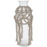 Macrame Fringe Glass Vase