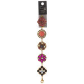 Pink Floral Rhinestone Bracelet