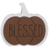 Blessed Pumpkin Wood Place Card Holder