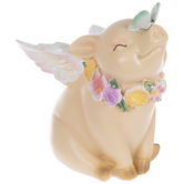 Angel Pig With Flowers & Butterfly