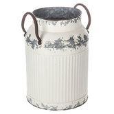 Distressed White Metal Milk Can