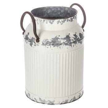 Distressed White Metal Milk Can