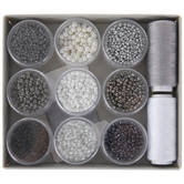 Black, Gray & White Glass Seed Beads & Thread