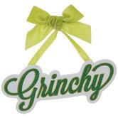 Grinchy Glitter Word Ornament