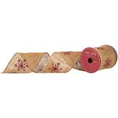 "Natural & Red Glitter Snowflake Burlap Ribbon - 4"""
