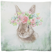 Floral Bunny Pillow Cover