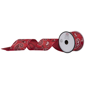 Red Bandana Satin Wired Edge Ribbon - 2 1/2""