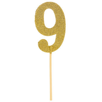Gold Glitter Number Cake Topper - 9
