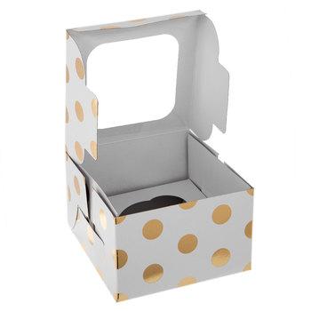 White & Gold Polka Dot Single Cupcake Boxes