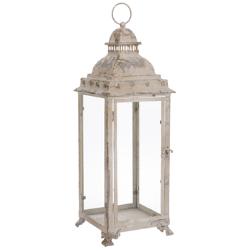 Distressed Cream Ornate Metal Lantern