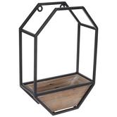 Black & Brown Geometric Metal Wall Shelf