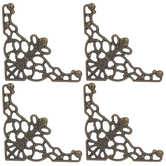 Antique Bronze Plated Filigree Corners