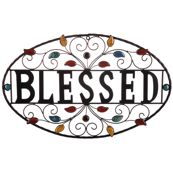 Farmhouse Metal Sign Wedding Gift Sign with base Simply Blessed Metal Home Decor Metal Art Metal and Wood Sign Housewarming Gift