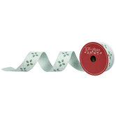 """Holly & Dotted Diamonds Wired Edge Ribbon - 1 1/2"""""""