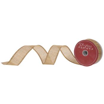"Gold Metallic Striped Wired Edge Burlap Ribbon - 1 1/2"""