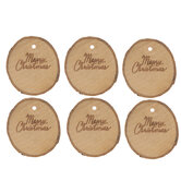 Merry Christmas Wood Slice Tags