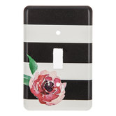 Black & White Striped Flower Single Switch Plate