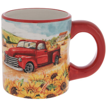 Red Truck & Sunflowers Mug