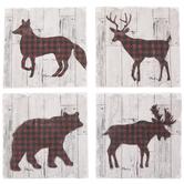 Woodland Animals Buffalo Check Coasters