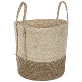 Two-Tone Woven Straw Basket