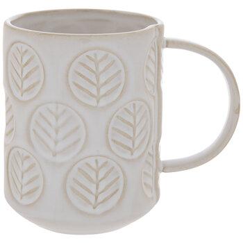 White Embossed Leaves Mug