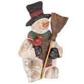 Wood Snowman With Cardinal