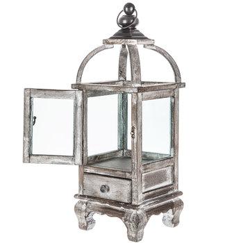 Whitewash Wood Lantern With Drawer