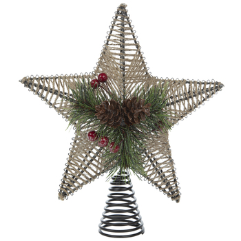 Jute & Pinecone Star Tree Topper