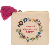 Happy Floral Canvas Coin Purse With Tassel