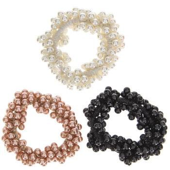 White, Black & Rose Pearl Hair Ties