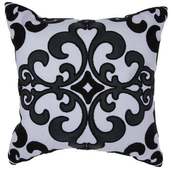 White & Black Tile Medallion Pillow