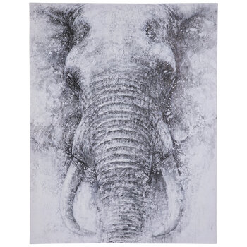 Textured Elephant Canvas Wall Decor