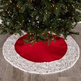 Red Velvet & Snowflake Edge Tree Skirt
