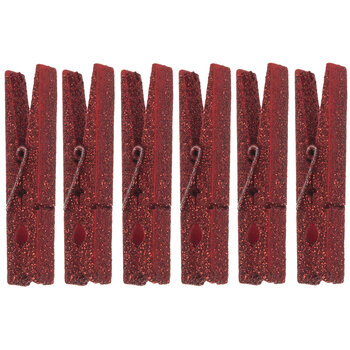 Red Glitter Clothespins