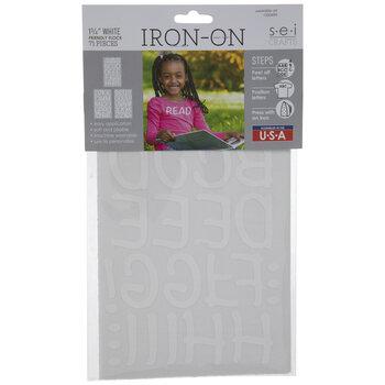 White Friendly Flocked Letter Iron-On Appliques