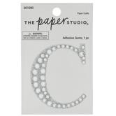 Silver Glitter & Rhinestone Letter Sticker - C