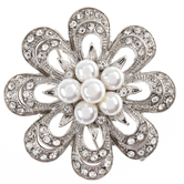 Imitation Pearl & Rhinestone Flower Brooch